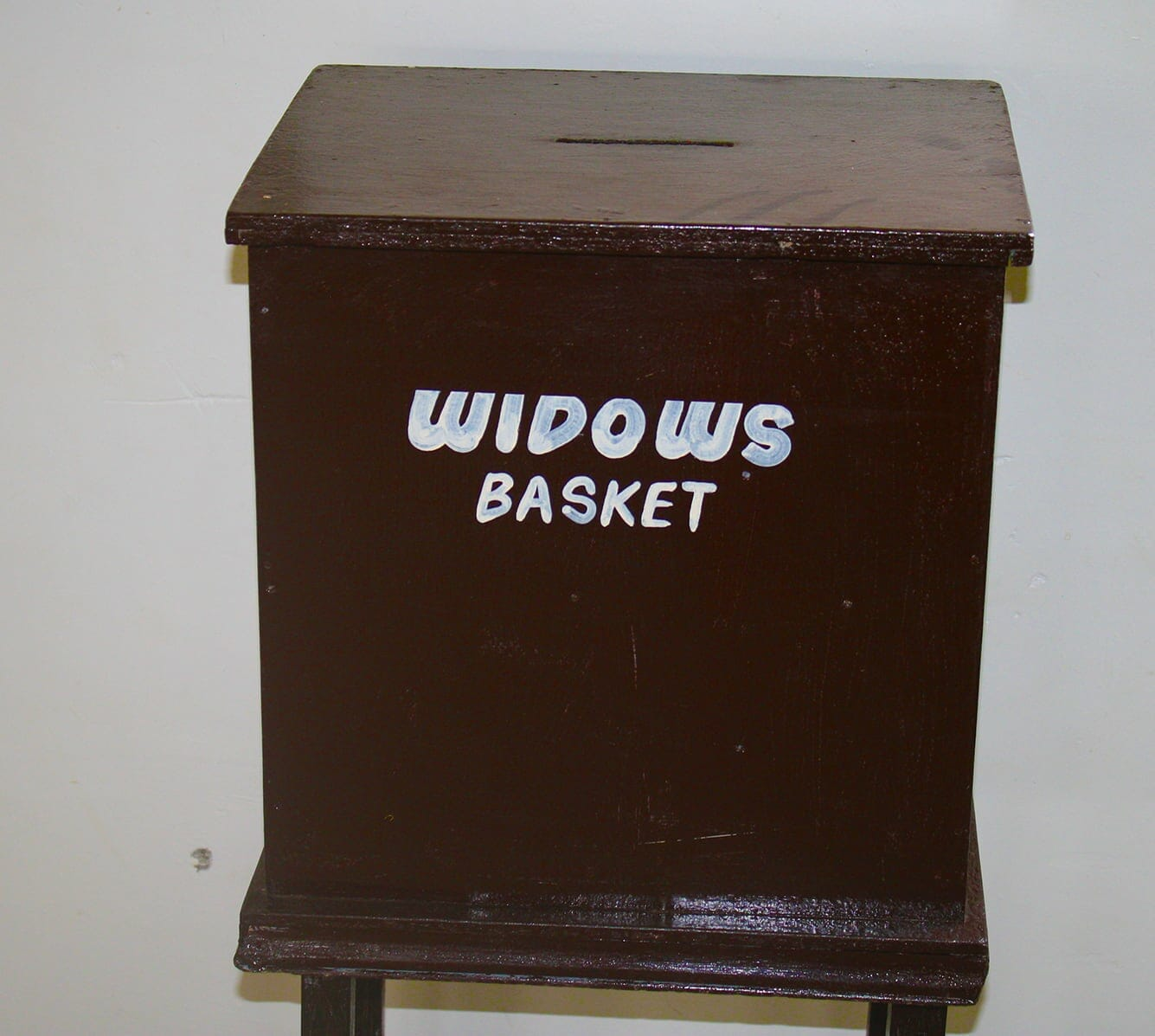 Offering box for widows at church